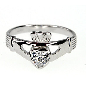 Cailin Sterling Silver & Cubic Zirconia Claddagh Ring N - Product number 9974466