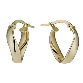 9ct yellow gold wave creole hoop earrings - Product number 9974857