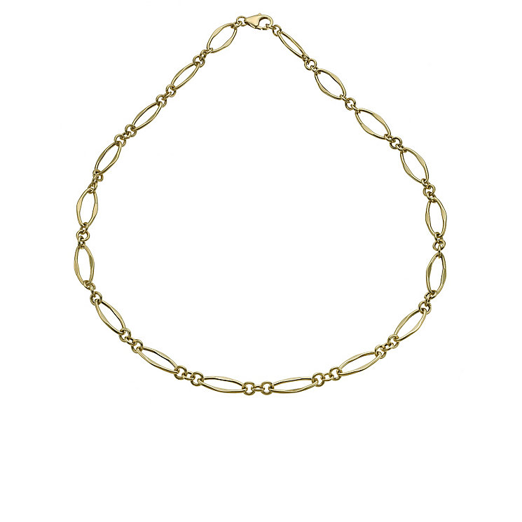9ct yellow open oval link necklace - Product number 9974865