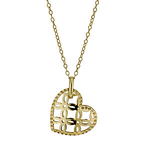 9ct yellow gold cut out heart drop pendant necklace - Product number 9975020