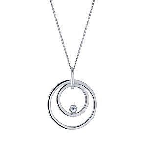 9ct white gold cubic zirconia double circle pendant necklace - Product number 9975055