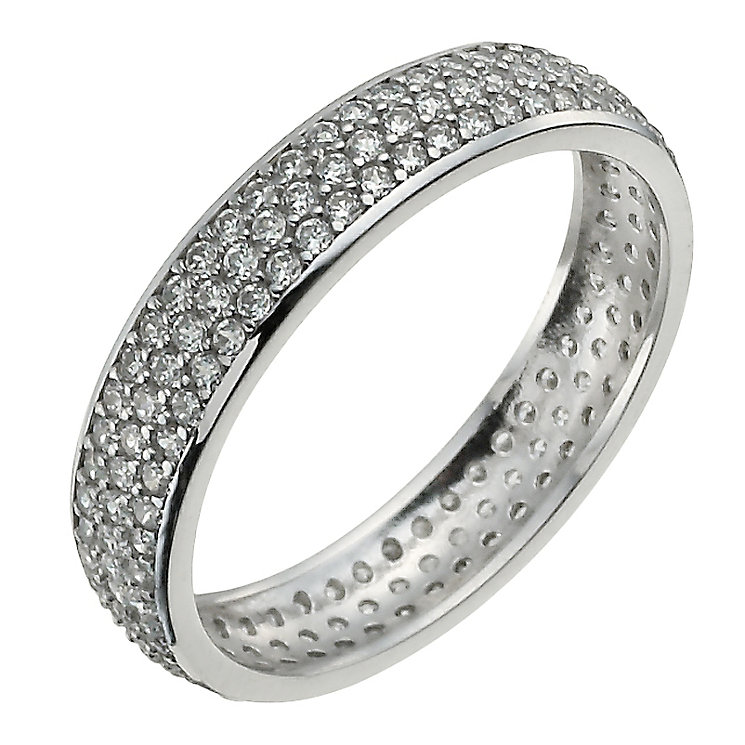 9ct white gold pave cubic zirconia ring - Product number 9975136