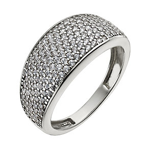 9ct white gold pave cubic zirconia ring - Product number 9975160