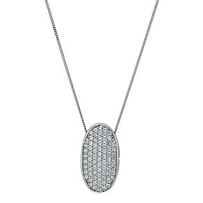9ct white pave cubic zirconia oval pendant necklace - Product number 9975179
