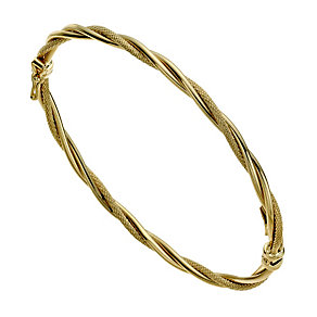 9ct yellow gold thin double twist bangle - Product number 9975330