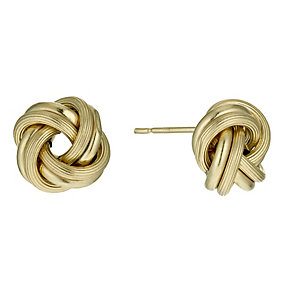 9ct yellow gold knot stud earrings - Product number 9975942