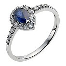 9ct white gold cubic zirconia & created sapphire pear ring - Product number 9976809