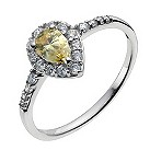 9ct white gold & yellow cubic zirconia pear vintage ring - Product number 9977201