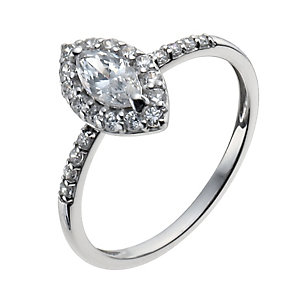 9ct white gold cubic zirconia marquise vintage ring - Product number 9977600