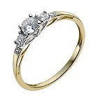 9ct yellow gold round & square cubic zirconia ring - Product number 9977732