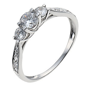 9ct white gold trilogy cubic zirconia pave ring - Product number 9978046