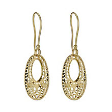 9ct yellow gold cut out oval drop earrings - Product number 9978445