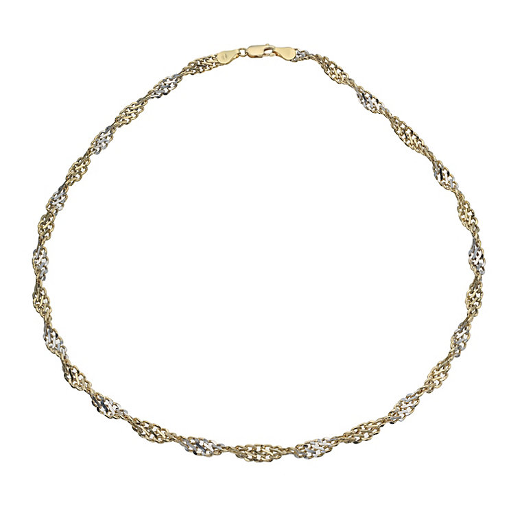9ct yellow gold two colour twist necklace - Product number 9978488