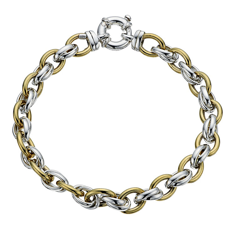 Sterling silver & 9ct yellow gold linked bracelet - Product number 9978518