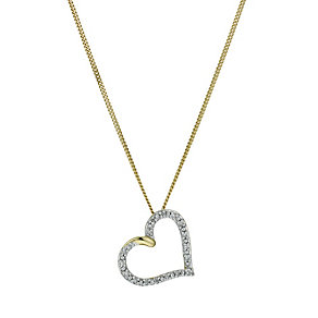 9ct yellow gold diamond pendant - Product number 9978585