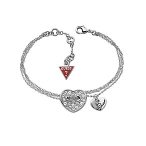 Guess Silver-Plated Pave Crystal Heart Bracelet - Product number 9978984