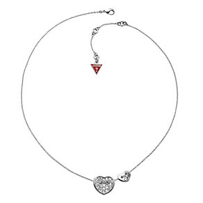 Guess Silver-Plated Pave Crystal Curve Heart Necklace - Product number 9979018