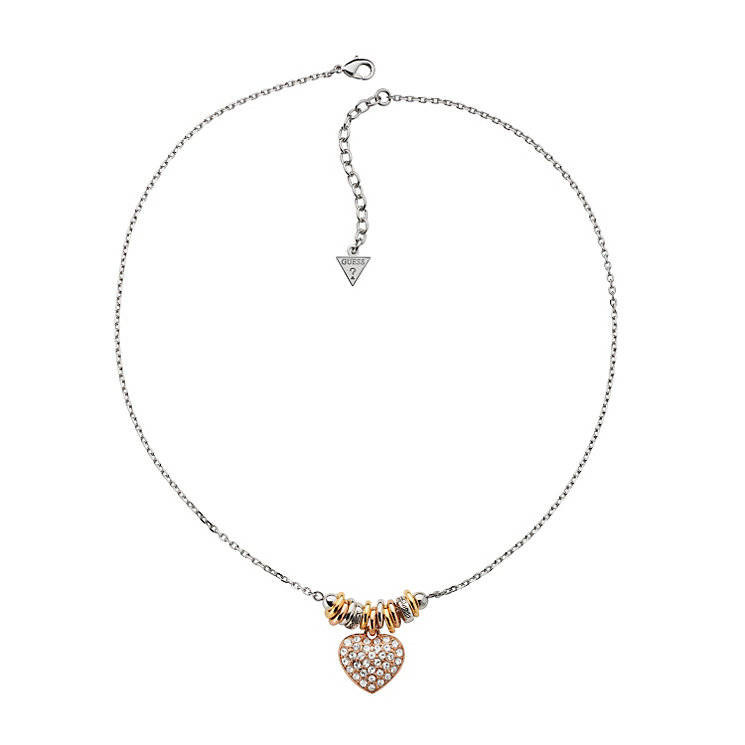 Guess Silver & Gold-Plated Pave Crystal Heart Bracelet - Product number 9979115