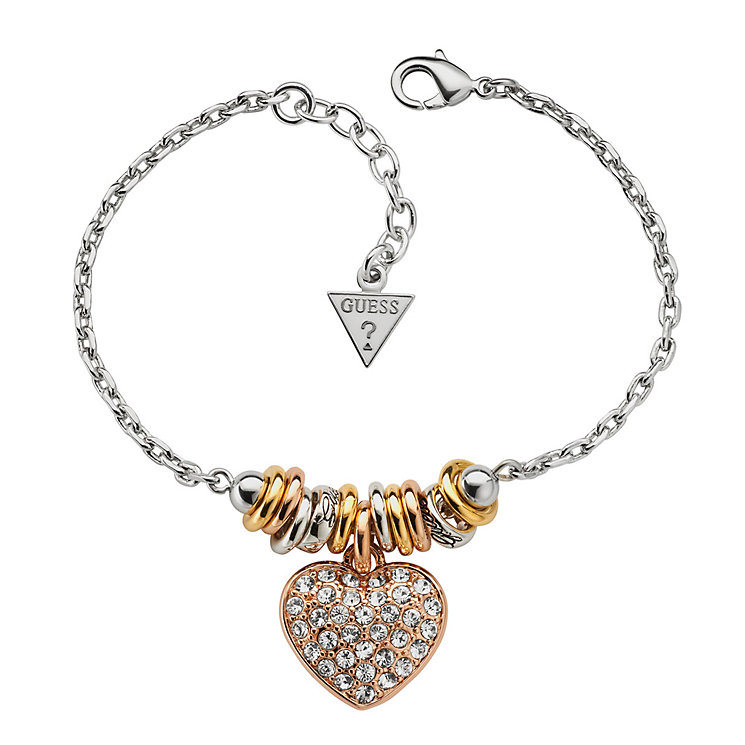 Guess Silver & Gold-Plated Pave Crystal Heart Bracelet - Product number 9979239