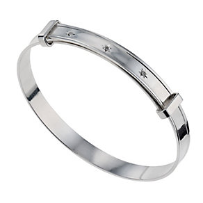 Children's Sterling Silver Three Diamond Expander Bangle - Product number 9986251