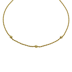 9ct yellow gold ball stone rope necklace - Product number 9986294