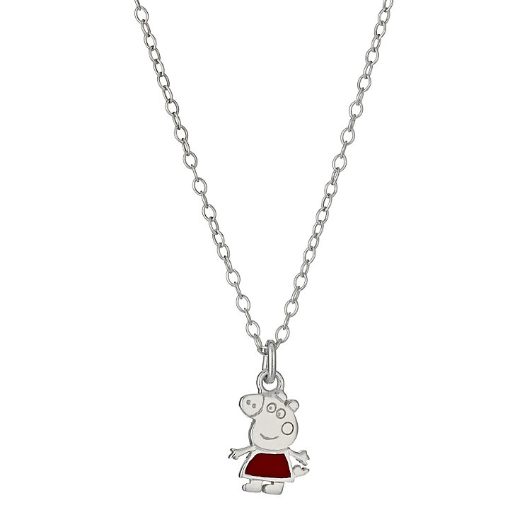 """Children's Sterling Silver 14"""" Peppa Pig Pendant - Product number 9986340"""