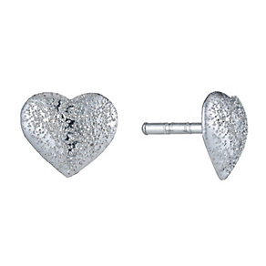 Children's Sterling Silver Frosted Heart Stud Earrings - Product number 9986847