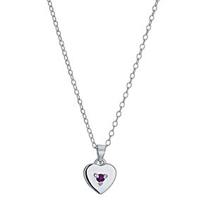 Children's Silver February Amethyst Birthstone Pendant - Product number 9986898