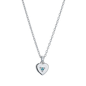 Children's Silver March Aqua Zirconia Birthstone Pendant - Product number 9986901