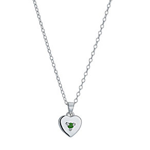 Children's Silver May Emerald Zirconia Birthstone Pendant - Product number 9986928