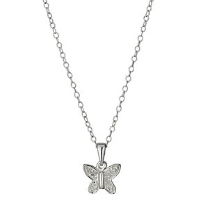 Children's Sterling Silver Diamond Butterfly Pendant - Product number 9987134