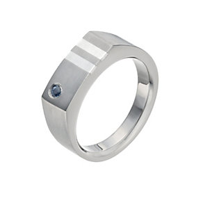 Men's Titanium & Silver Sapphire Ring - Product number 9990771