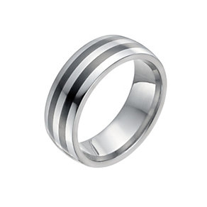 Men's Tungsten & Ceramic Two Stripe Ring - Product number 9990925
