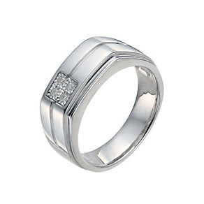 Men's Sterling Silver Illusion Set Diamond Ring - Product number 9991735