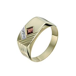 Men's 9ct Yellow Gold Garnet & Diamond Signet Ring - Product number 9991999