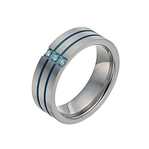 Men's Titanium Diamond Green Stripe Ring - Product number 9992383