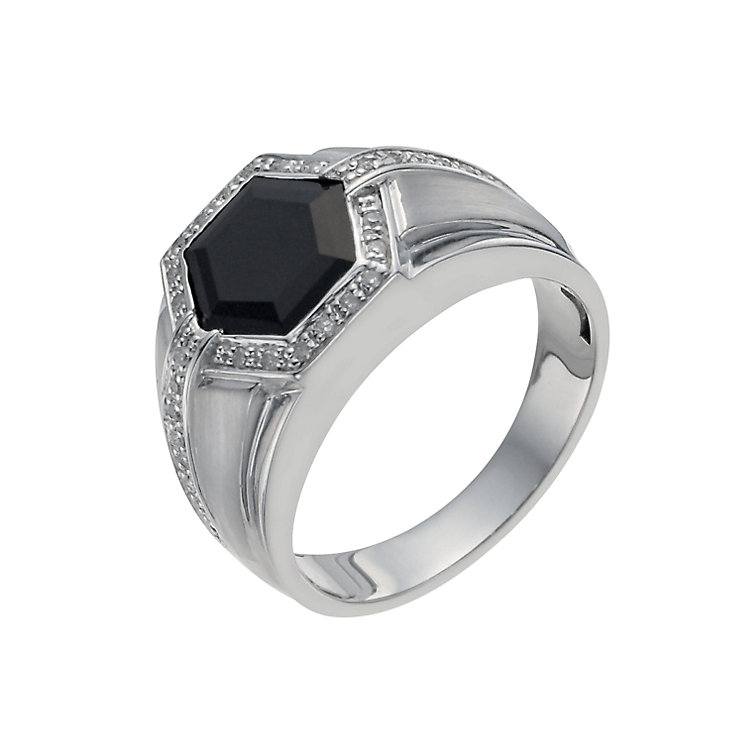 Men's Sterling Silver Onyx & 15 Point Diamond Ring - Product number 9993525