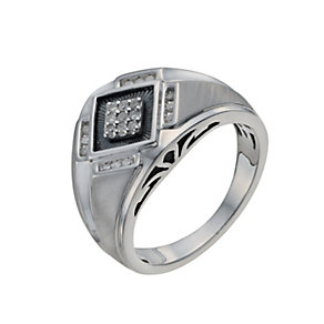 Men's Sterling Silver 15 Point Diamond Ring - Product number 9993797