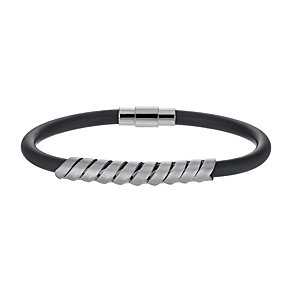 Black Rubber & Stainless Steel Bracelet - Product number 9994610