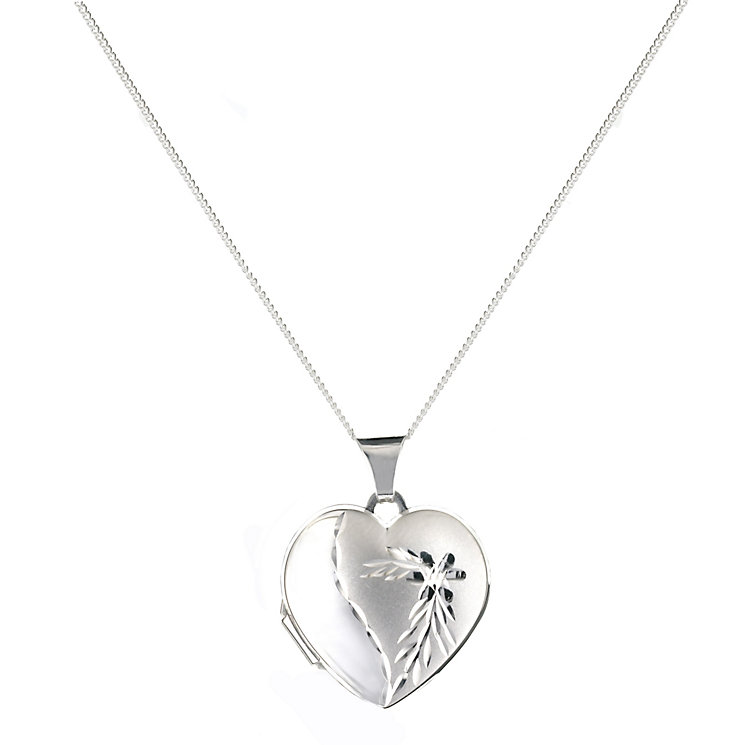 Sterling Silver Heart Diamond Cut Satin Locket - Product number 9995021