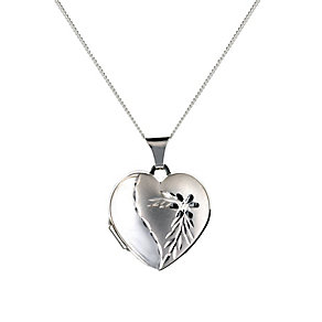 Sterling Silver Diamond Cut Heart Locket - Product number 9995064