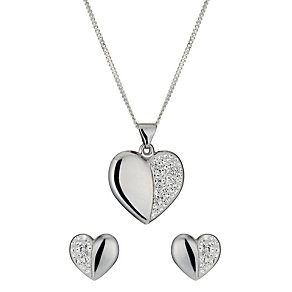 Sterling Silver Crystal Heart Earring & Pendant Set - Product number 9995099