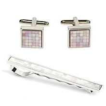 Simon Carter mosaic mother of pearl tie slide & clip set - Product number 1036440