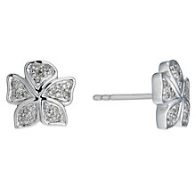 Sterling silver 15 point diamond flower stud earrings - Product number 1626868