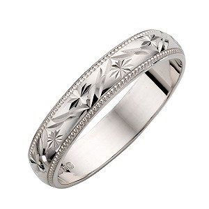 9ct White Gold Las Patterned Wedding Ring